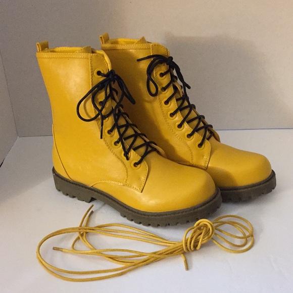 Pair Yellow Vegan Leather Combat Boots